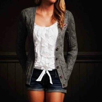 bows top white ruffle top grey cardigan