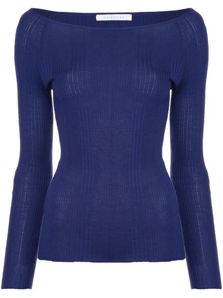 Estnation sweater women blue silk