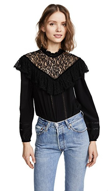 Rebecca Taylor top lace top long lace silk black
