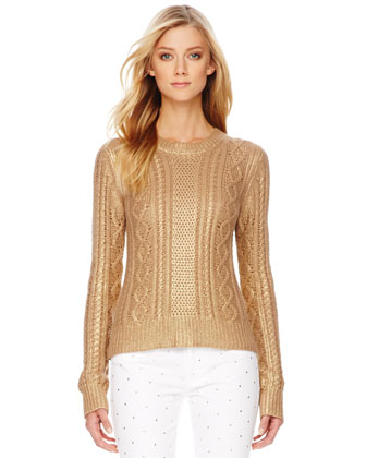 MICHAEL Michael Kors  Metallic Cable-Knit Sweater - Michael Kors