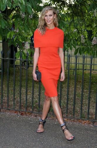 dress red red dress karlie kloss summer dress sandals midi dress
