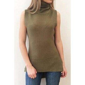style fashion stylish sleeveless rose wholesale turtleneck turtleneck sweater winter sweater fall outfits winter outfits sleeveless top top casual chic