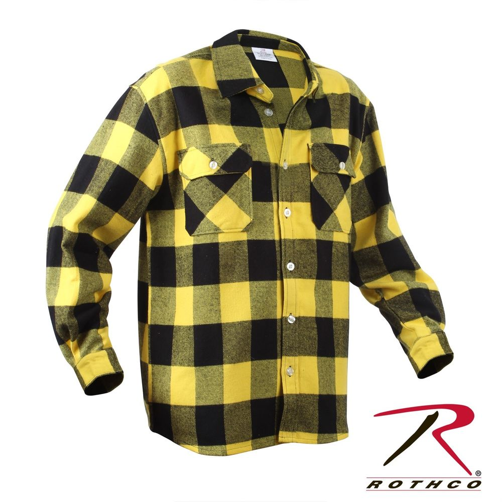 Rothco Heavyweight Brawny Yellow Black Plaid Flannel Shirts 4649 Size SM to 4X | eBay