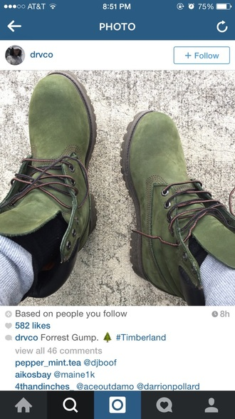 shoes army green timberland boots