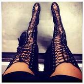 shoes,high heels,black high heels,thigh highs,thigh high boots,sexy,peep toe boots,peep toe,lace up