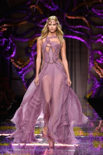 dress gown fashion maxi dress karlie kloss sheer prom dress pruple dress versace