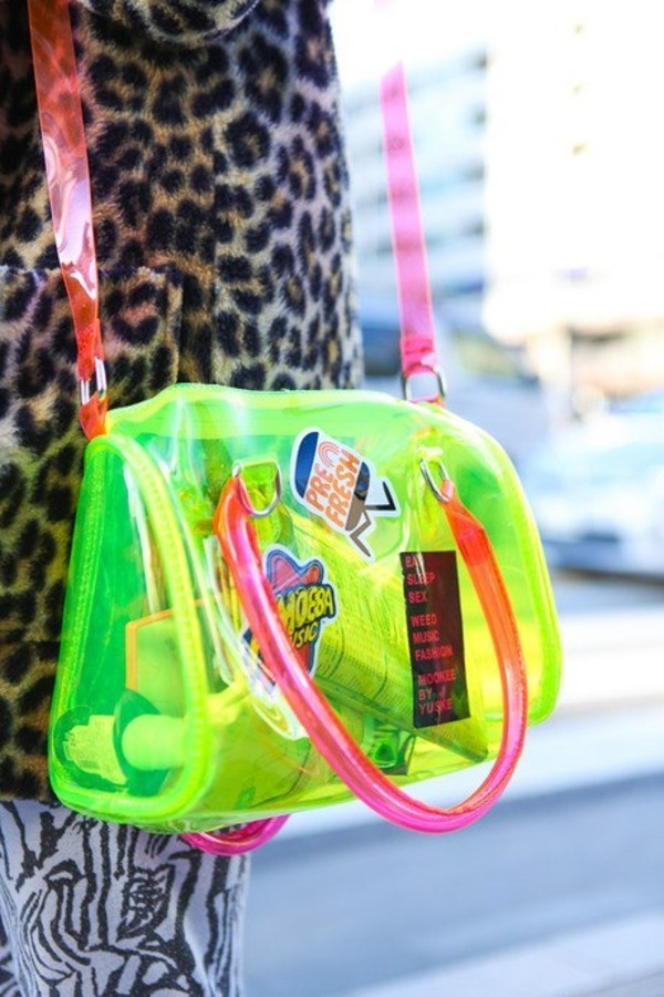 bag neon green pink gel fluo transparent
