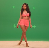 shirt,skirt,swimwear,nicki minaj,high waisted bikini,dress,nicki minaj pink swimsuit,jumpsuit