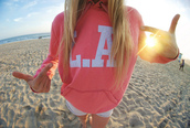 sweater,la,pink,hoodie,jacket,l.a.,tumblr,shirt,los angeles,coral,sweatshirt,white,pullover,l.a. style,beach,pink la hoodie,los angeles hoodie,california