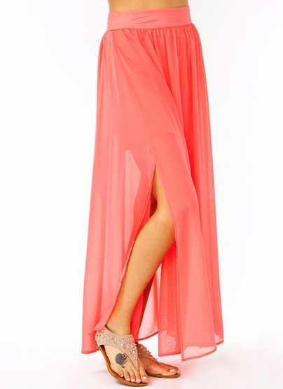 GJ | double slit chiffon maxi skirt $22.80 in CORAL ROYAL TAUPE - Maxi Lengths | GoJane.com