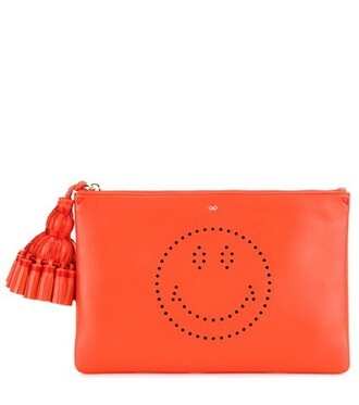 leather clutch smiley clutch leather red bag