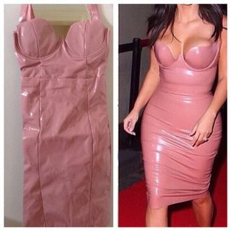 dress pvc dress fashion style kim kardashian dress kim kardashian nude dress