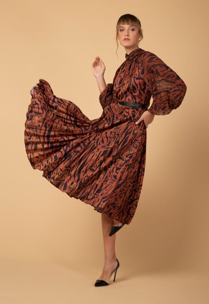Animal Print Pleated Dress - Dresses - Clothing - Woman