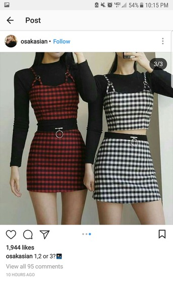 top plaid red black set skirt white crop tops crop top and skirt