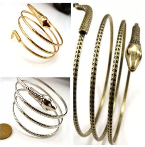 Coiled snake spiral upper arm cuff armlet armband bangle bracelet anklet punk
