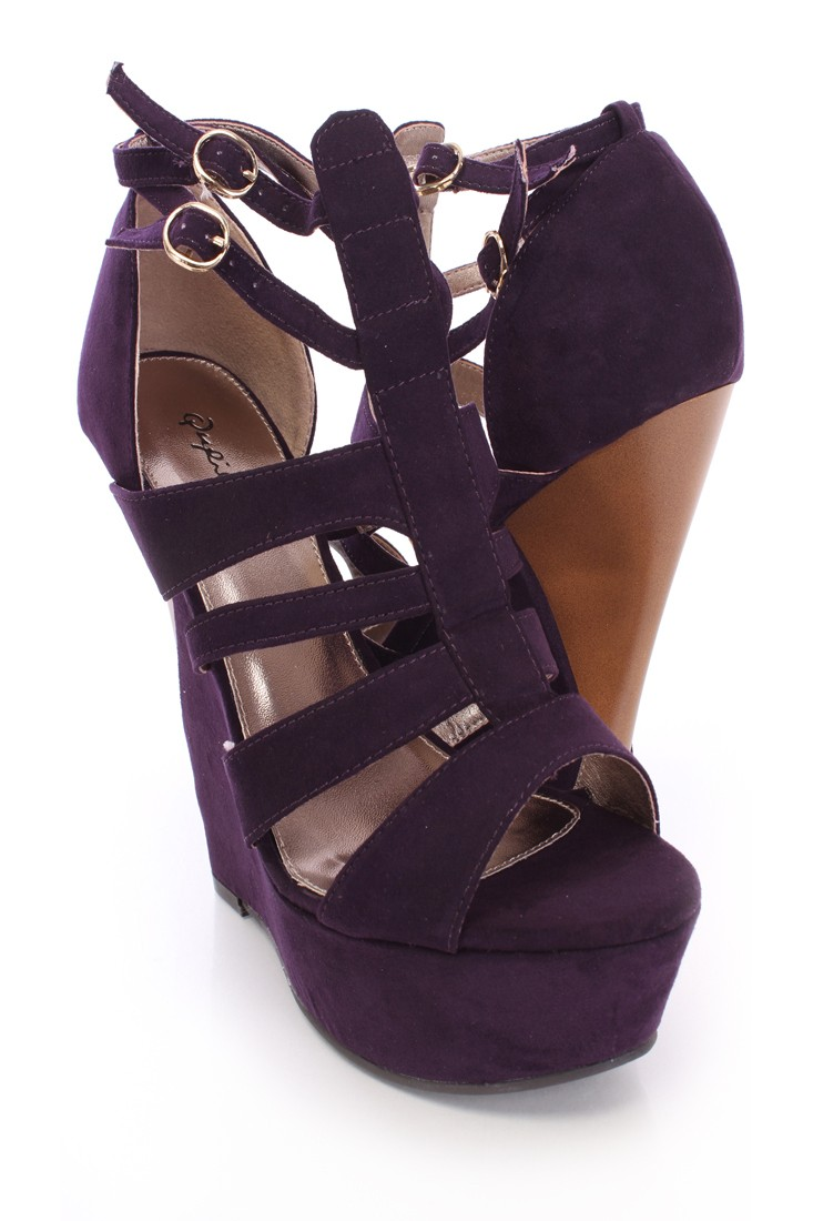 Purple Strappy Platform Wedges Faux Suede