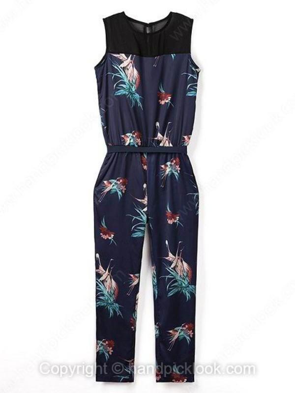 jumpsuit navy romper navy jumpsuit romper print jumpsuit sleeveless jumpsuit handpicklook.com oriental print