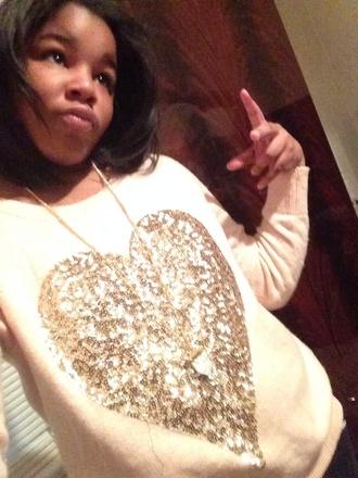 sweater pink base heart gold sequins heart sweater
