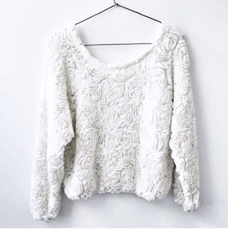 sweater white sweater floral sweater