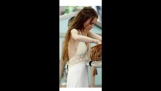 dress lindsay lohan crochet dress white dress