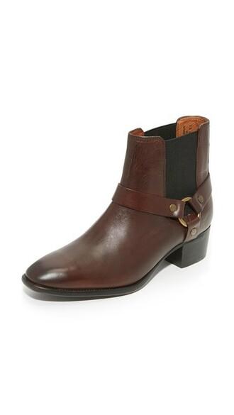 dark booties brown shoes
