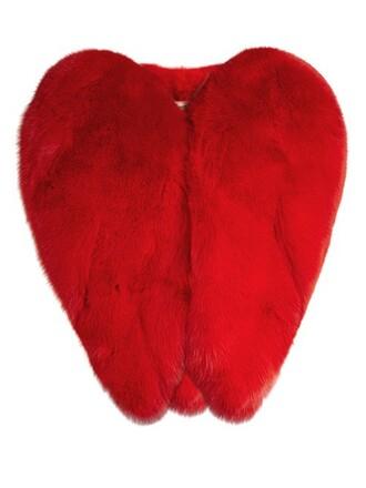 jacket fur jacket heart fur red