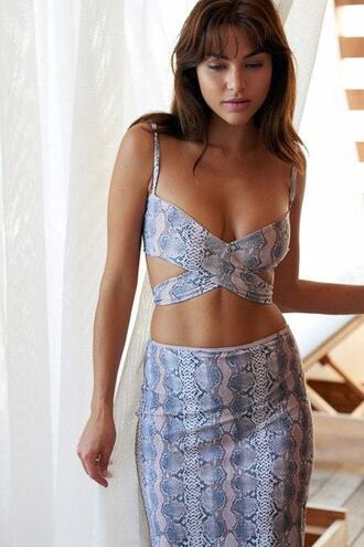 swimwear 2016 bikini delivery blue blue bikini bottoms cover up grey maxi dress print silver skirt snake bikiniluxe