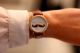 jewels watch moustache gold brown