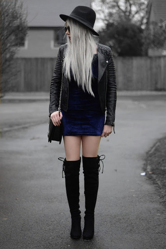 sammi jackson blogger sunglasses jacket dress bag shoes mini dress blue dress felt hat black leather jacket thigh high boots boots
