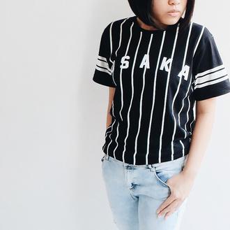 t-shirt osaka osaka shirt japan japanese jstyle japanese style shirt black stripes baseball tee kawaii kstyle fashion jfashion j-fashion