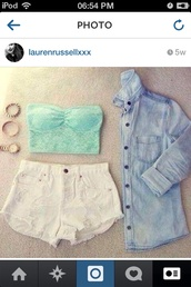 jacket,tumblr,tumblr clothes,lace crop top,blue,turquoise,shorts,ripped shorts,instagram,denim,love,shirt