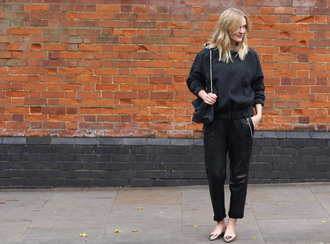 blame it on fashion blogger bag cropped pants sweater