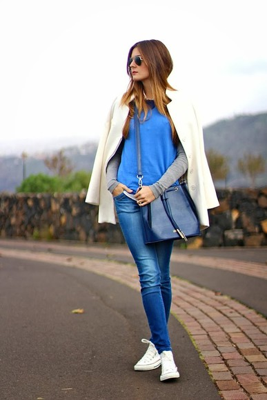 bag blue fashion blue bag amazing outfit outfit white follow pretty outfit