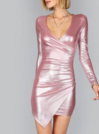 dress girly girl girly wishlist pink pink dress bodycon dress metallic long sleeves wrap dress mini dress