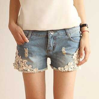 shorts denim lace girly pretty