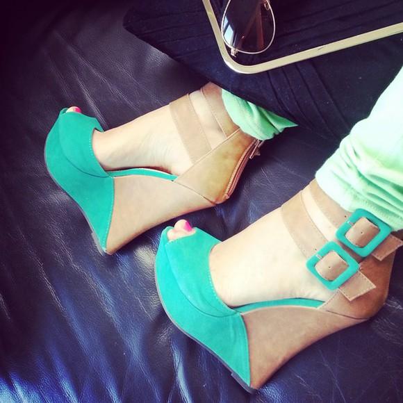 sea-green shoes green high heels estonia lime green pants wedges cute