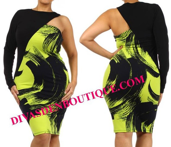 dress one shoulder plus size lime green plus size dress