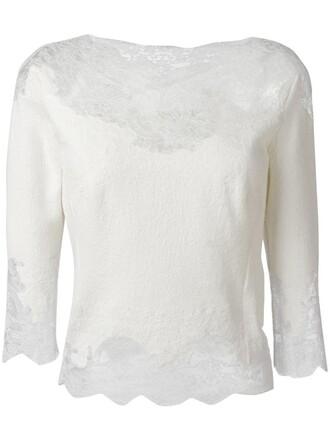 blouse women lace white silk wool top