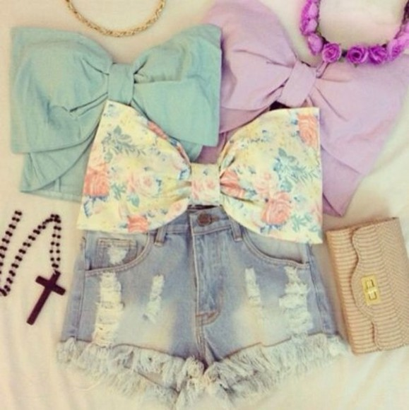 floral bow top tank top bralette crop tops
