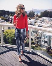 pants,top,red top,sunglasses,tumblr,checkered pants,sandals,mid heel sandals,clutch,bag,shoes,work outfits,office outfits,gingham