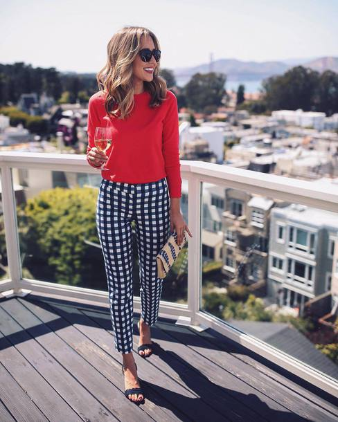 pants top red top sunglasses tumblr checkered pants sandals mid heel sandals clutch bag shoes work outfits office outfits gingham