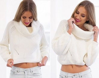blouse white knitted sweater cropped sweater