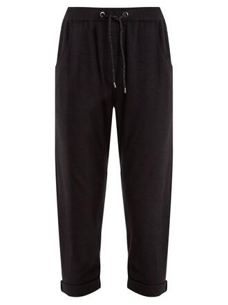 pants track pants embellished navy