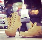 shoes,timberland,heels,camel,ankle boots,heel boots,high heels boots,wheat,booties,lace up heels,timberland heels