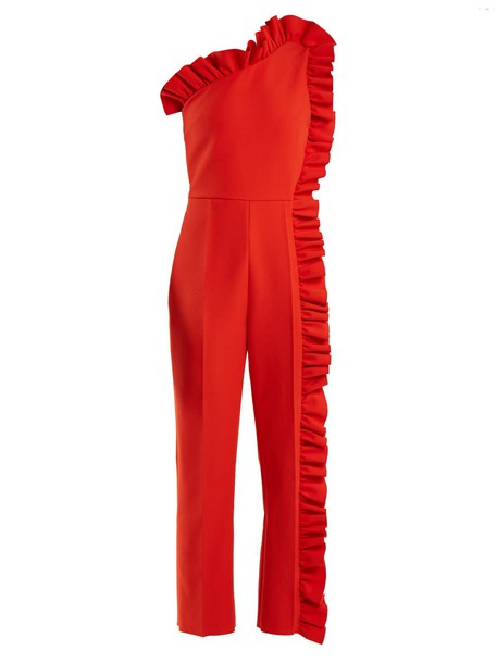 MSGM jumpsuit ruffle red