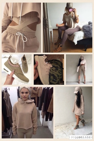 khaki nude sneakers nude trainers nike shoes nike beige hoodie joggers oversized sweater two-piece bodysuit hat leggings tan sweater