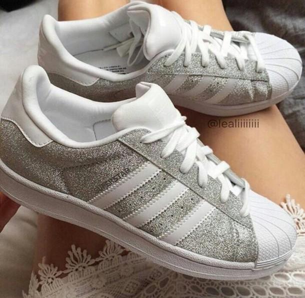 adidas superstar glitter grey