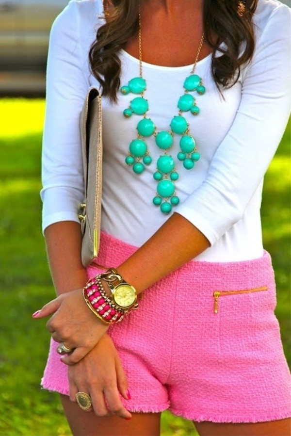 blouse neon pink shorts mint green necklace white shirt neon outfit shorts twill shorts jewelry arm candy jewels turquoise jewelry accessories clutch handbag bag oversized envelope clutch envelope clutch 3/4 3/4 sleeve white necklace girly pink shirt top outfit fashion look tweed shorts gold zip pink shorts chic green green jewelry dress