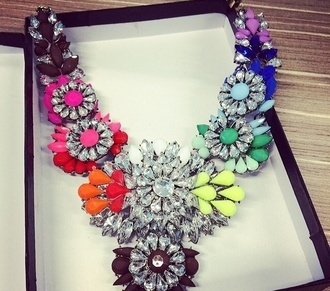 jewels multicolor necklace statement necklace aliexpress multicoloured alloy