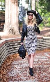 love maegan,blogger,sunglasses,chevron,purse,leather jacket,bodycon dress,dress,jacket,chevron dresses